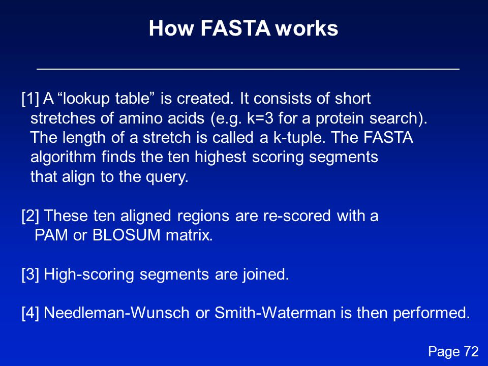 How FASTA works [1] A lookup table is created. It consists of short